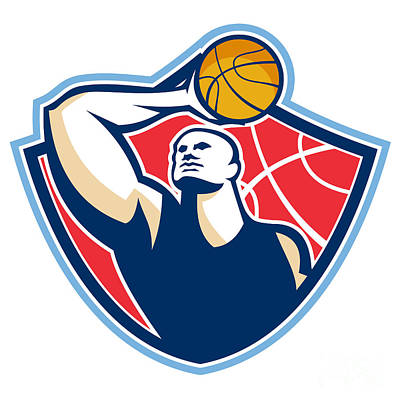 Rebound Digital Art - Basketball Player Rebounding Ball Retro by Aloysius Patrimonio