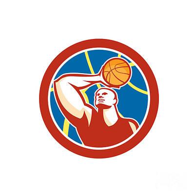 Scoring Digital Art - Basketball Player Shooting Ball Circle Retro by Aloysius Patrimonio