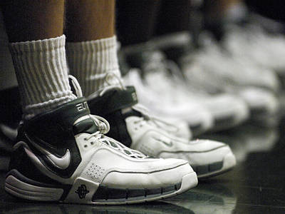 Basketball Shoes In A Row Art Print by Replay Photos