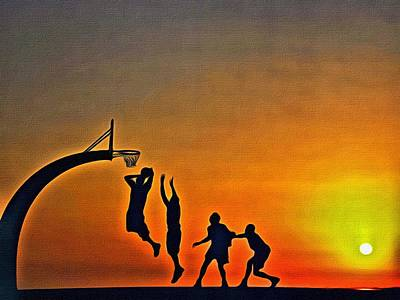 Painting - Basketball Sunrise by Florian Rodarte