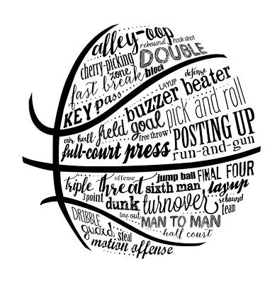 Basketball Painting - Basketball Terms Bnw by Longfellow Designs