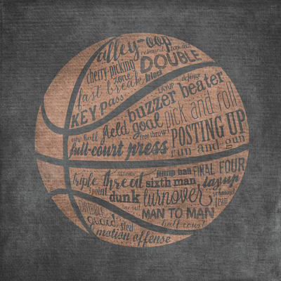 Basketball Painting - Basketball Terms by Longfellow Designs