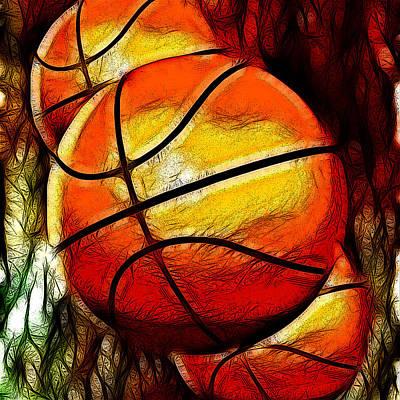 Basketball Digital Art - Basketballs Abstract by David G Paul