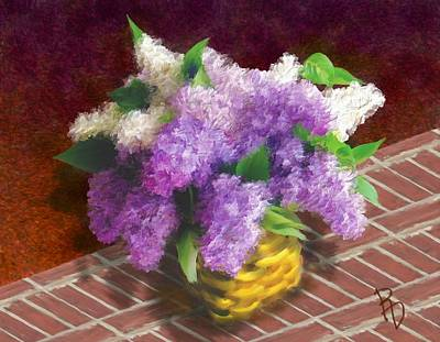 Basketful Of Lilacs Art Print by Ric Darrell