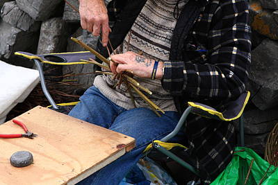 Artist Working Photograph - Basketmaker Of Inishmore Island by Aidan Moran