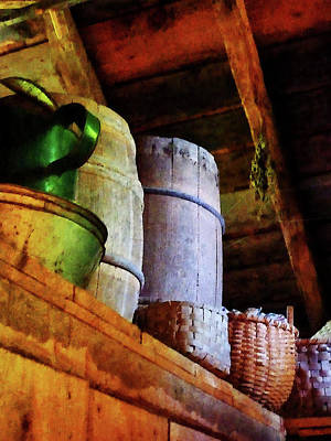 Art Print featuring the photograph Baskets And Barrels In Attic by Susan Savad