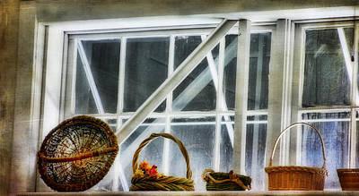 Baskets In The Window Art Print by Joan Bertucci