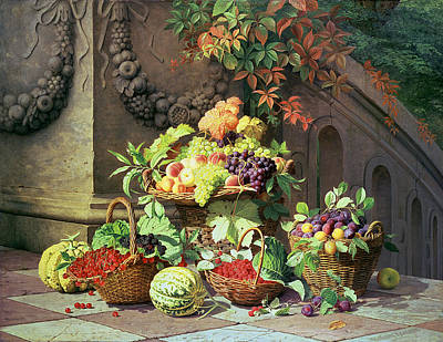 Grapevines Painting - Baskets Of Summer Fruits by William Hammer