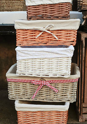 Gingham Photograph - Baskets by Tom Gowanlock