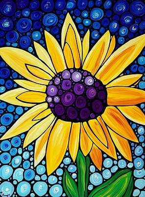 Blue Flowers Painting - Basking In The Glory by Sharon Cummings