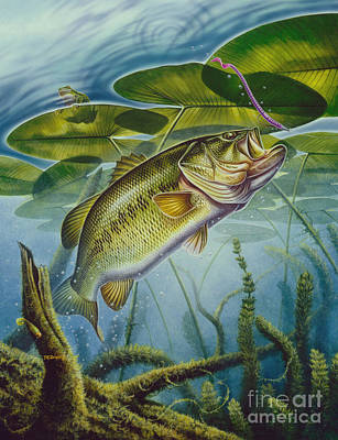 Largemouth Painting - Bass And Frog by Jon Q Wright