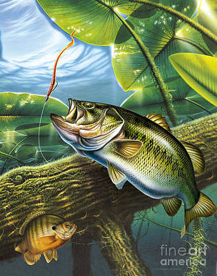 Largemouth Painting - Bass And Pads by Jon Q Wright