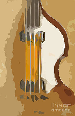 Musicians Drawings - Bass brown back by Drawspots Illustrations