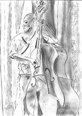 Jazz Drawing - Bass Fiddle Blues by Elizabeth Briggs