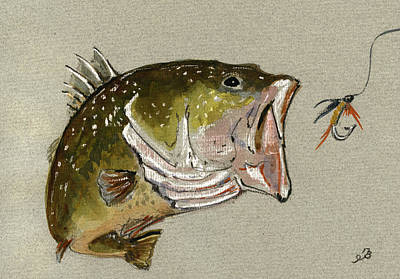 Fishing Painting - Bass Fish Fly by Juan  Bosco