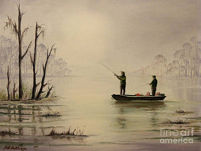 Oil Rig Painting - Bass Fishing In Florida by Bill Holkham