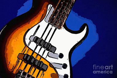 Photograph - Bass Guitar Isolated On Blue by M K Miller