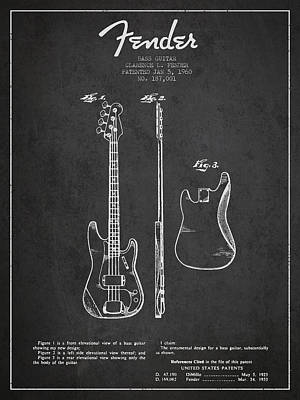 Acoustic Guitar Digital Art - Bass Guitar Patent Drawing From 1960 by Aged Pixel