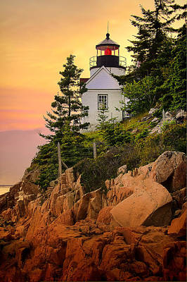 Bass Harbor Head Light At Sunset Art Print