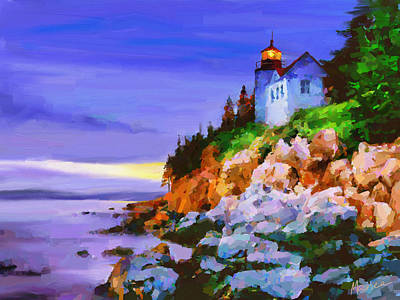 Maine Landscapes Painting - Bass Harbor Head Light At Sunset by Marina Likholat