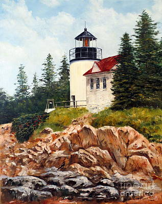 New England Lighthouse Painting - Bass Harbor Head Light by Lee Piper