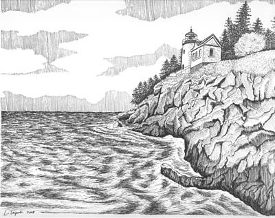 Drawing - Bass Harbor Head Lighthouse by Lawrence Tripoli