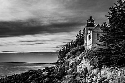 Photograph - Bass Harbor Head Lighthouse Monochrome  by Jim McCain