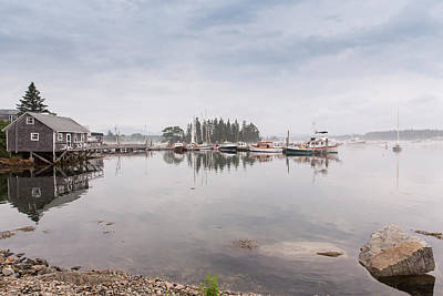 Bass Harbor In The Morning Fog Art Print