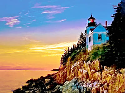 Painting - Bass Harbor Light Acadia Np by Bob and Nadine Johnston