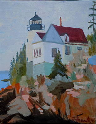 Obama Painting - Bass Harbor Light by Francine Frank