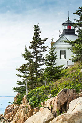 Photograph - Bass Harbor Light Station Overlooking The Bay by John M Bailey