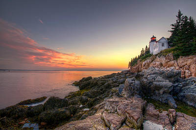 Bass Harbor Lighthouse And Coast Art Print by At Lands End Photography
