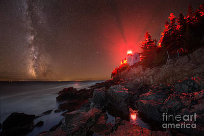 Bass Harbor Lighthouse Milky Way Art Print by Michael Ver Sprill