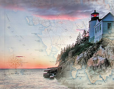 Digital Art - Bass Harbor Lighthouse On A Chart by Jeff Folger