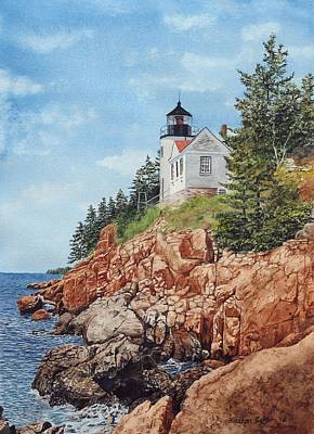Maine Landscapes Painting - Bass Harbor Lighthouse by Sharon Farber