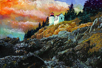 Painting - Bass Harbor Lighthouse Sunset by Brent Ander