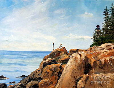 New England Lighthouse Painting - Bass Harbor Rocks by Lee Piper