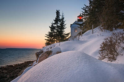 Photograph - Bass Harbor Winter Night by Darylann Leonard Photography