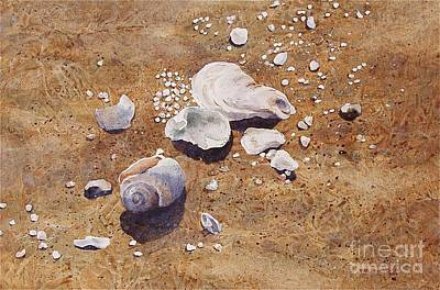 Art Print featuring the painting Bass River Seashells by Karol Wyckoff
