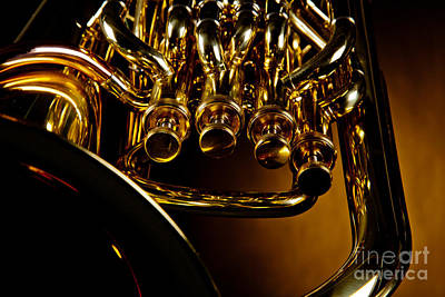 Photograph - Bass Tuba Brass Instrument Photograph In Color 3392.02 by M K  Miller