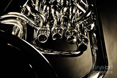 Photograph - Bass Tuba Brass Instrument Photograph In Sepia 3392.01 by M K  Miller