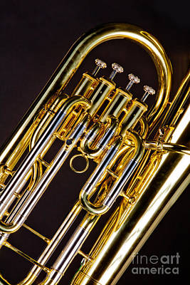 Photograph - Bass Tuba Brass Instrument Valves Photo In Color 3395.02 by M K  Miller