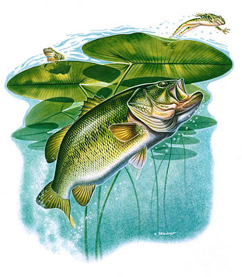 Largemouth Painting - Bass Vignette by Jon Q Wright