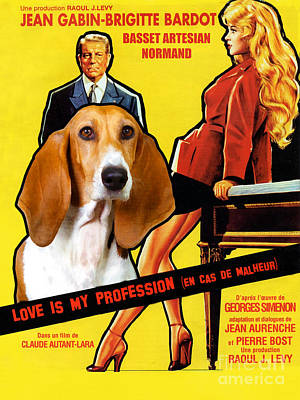 Painting - Basset Artesian Normand - Norman Artesian Basset Art Canvas Print - Love Is My Profession Movie  by Sandra Sij
