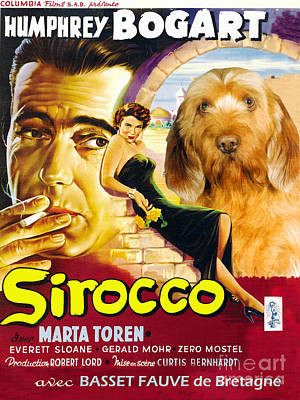 Sirocco Painting - Basset Fauve De Bretagne - Fawn Brittany Basset Art Canvas Print - Sirocco Movie Poster by Sandra Sij