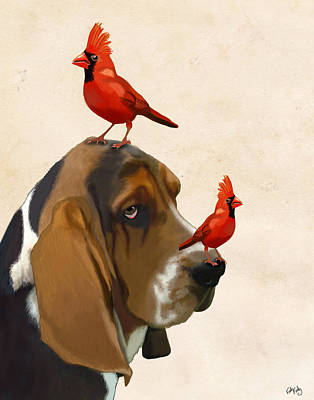 Basset Hound And Red Birds Art Print