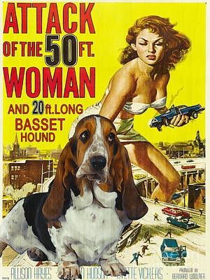 Dog Poster Painting - Basset Hound Art Canvas Print - Attack Of The 50ft Woman Movie Poster by Sandra Sij