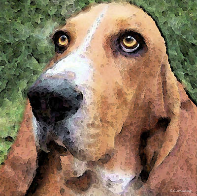 Funny Dog Painting - Basset Hound - Irresistible  by Sharon Cummings