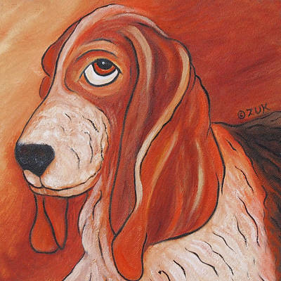Painting - Basset Hound by Karen Zuk Rosenblatt