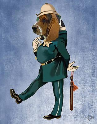 Police Dog Digital Art - Basset Hound Policeman by Kelly McLaughlan